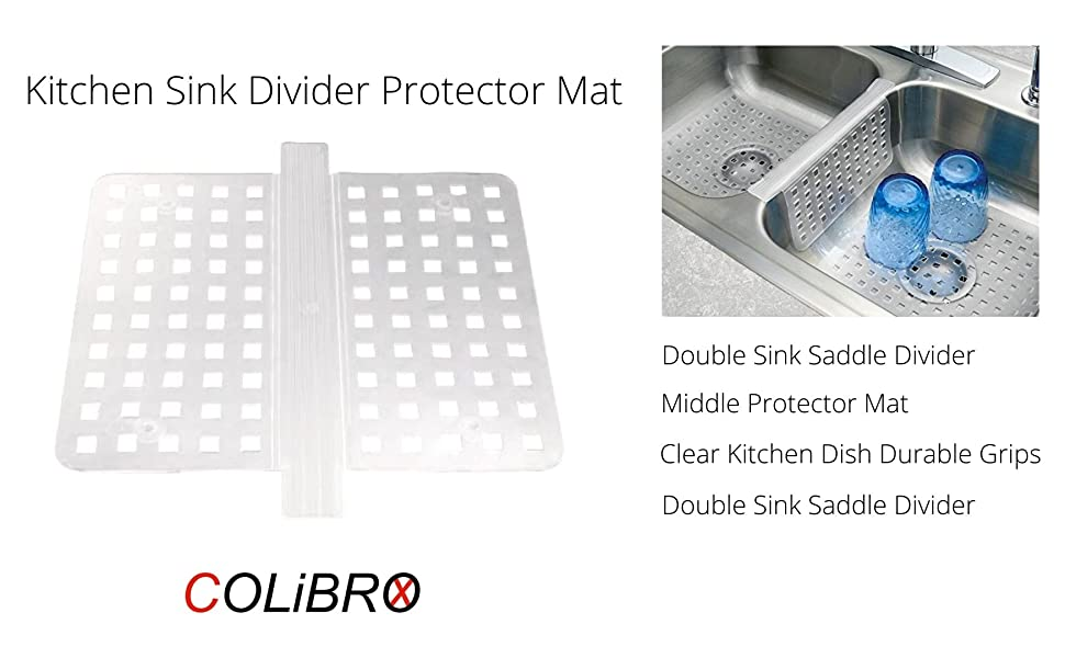 colibrox double sink saddle divider middle protector mat clear kitchen dish durable grips