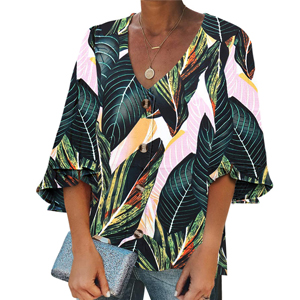 DidHaapin Women V Neck Bell Sleeve Shirt Casual Loose Tops Blouse