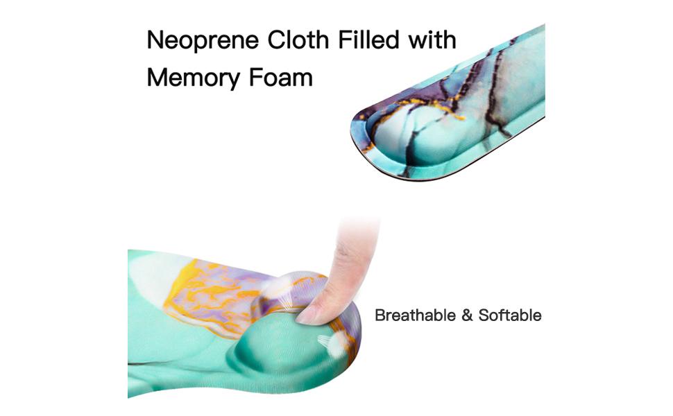 Ergonomic Memory Foam Mousepad Keyboard Wrist Rest Set