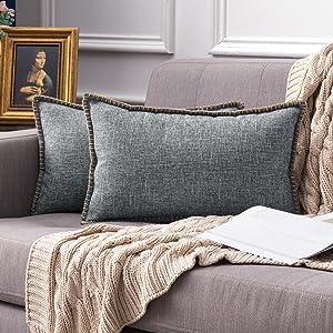 farmhouse linen pillow covers grey vintage retro rustic