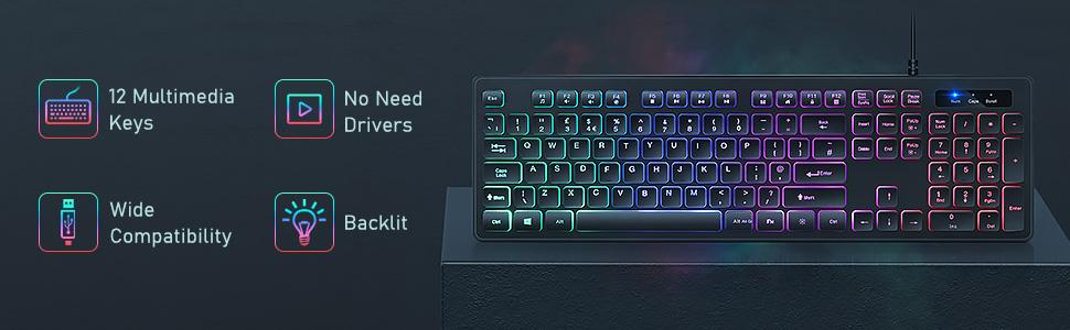 backlit wired keyboard