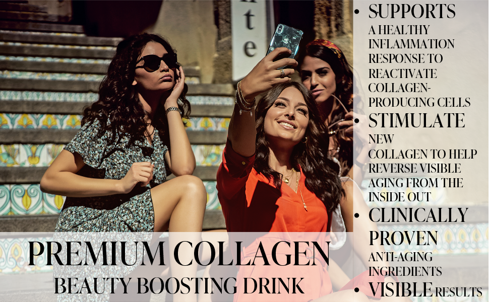 PREMIUM COLLAGEN BEAUTY BOOSTING DRINK SUPPORT HEALTHY INFLAMMATION RESPONSE TO REACTIVATE COLLAGEN