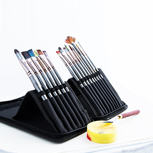 Transon Artist Paint Brush Set of 17pces with Brush Organizer for Oil Watercolor Acrylic Gouache Painting
