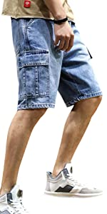 Cargo shorts men multiple pockets shorts men loose fit cargo shorts men denim cargo shorts work jean