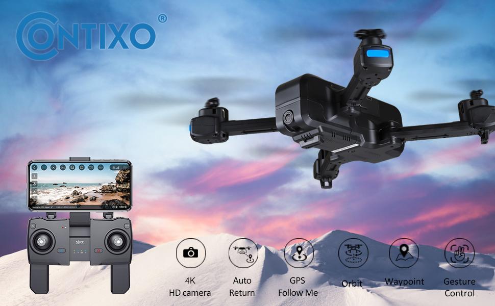 drone 4k camera  Contixo 4K GPS Quadcopter Drone with HD FPV Camera Live Video for Adults with Custom Case & 2 Batteries 7ca874d3 e7ba 4f86 8084 cb358105b818