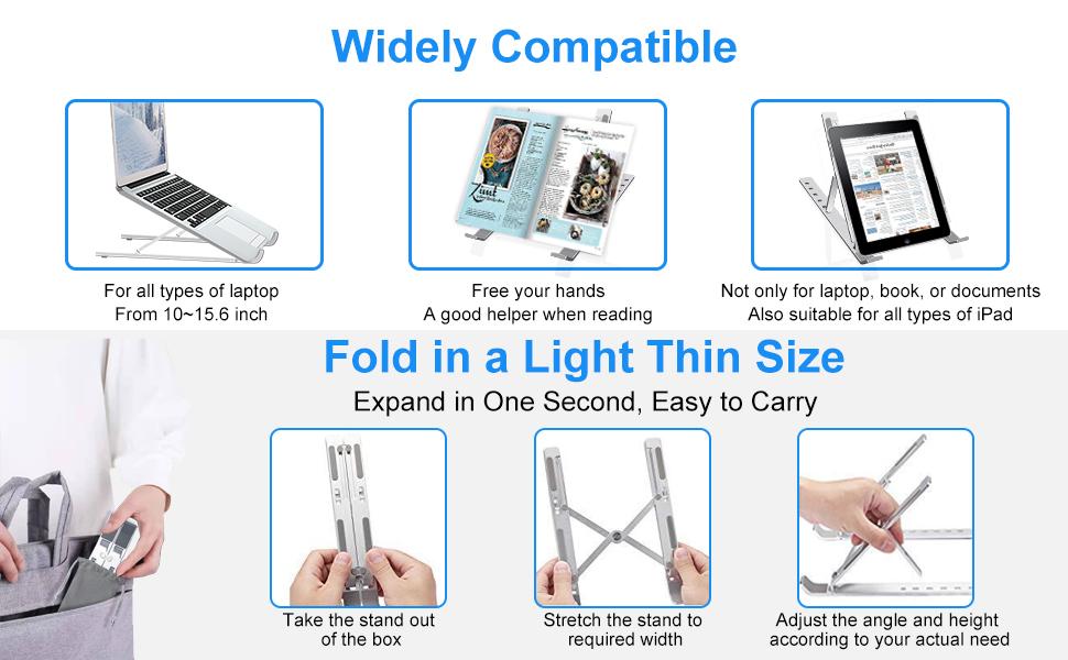 Travel Mini Ventilated Height Adjustable, Ergonomic Riser for Apple Notebook iPad Computer PC Tablet