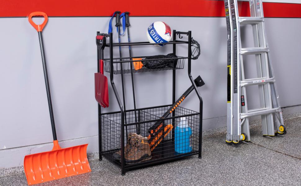 Sports Equipment Rack with Storage, Metal Garage Organizer,