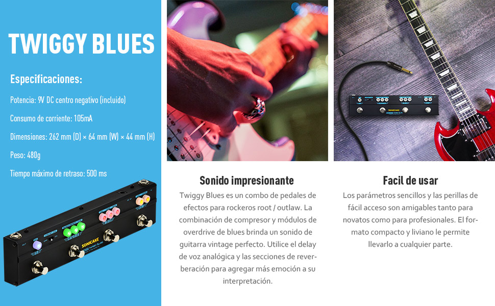 SONICAKE Pedal de Guitarra Twiggy Blues Multiefectos Vintage Blues ...