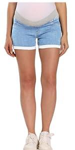 Maternity Denim Shorts Overbelly Wide Elastic Band Waist Summer Pregnancy Shorts