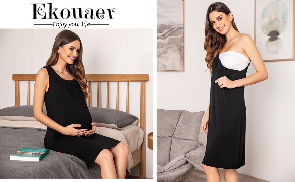 Ekouaer Womens Delivery/Labor/Maternity/Nursing Night Dress Pregnancy Nightgown for Breastfeeding