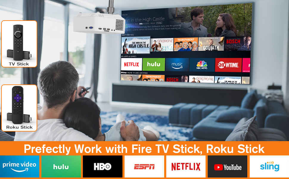 Home projector works perfectly with Roku TV or Fire TV Stick