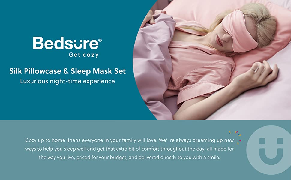 get cozy with the Bedsure 100% Pure Mulberry Silk Pillowcase and Sleep Eye Mask-pink