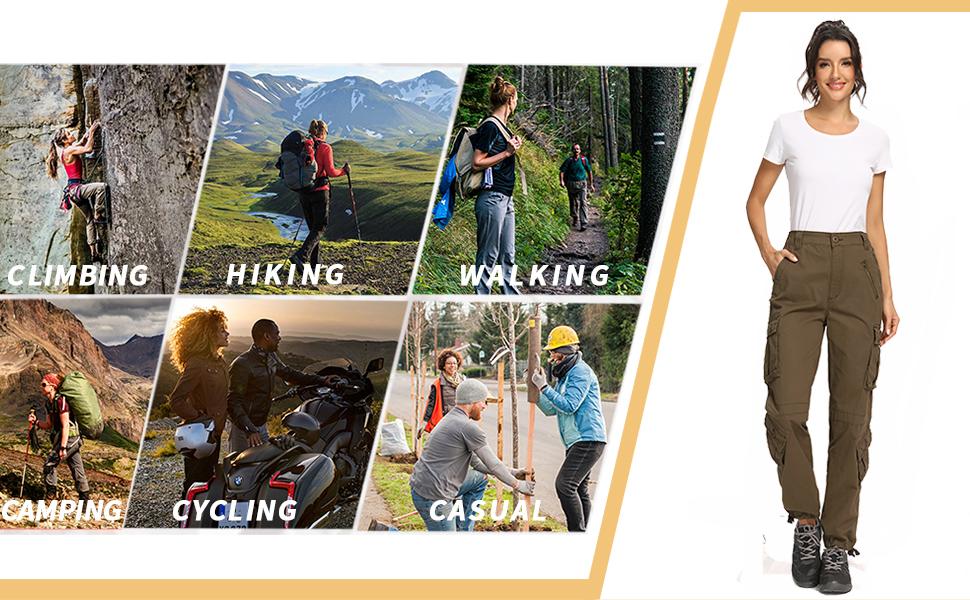 Baggy black cargo pants for women Cargo work pants for women Hiking pants women