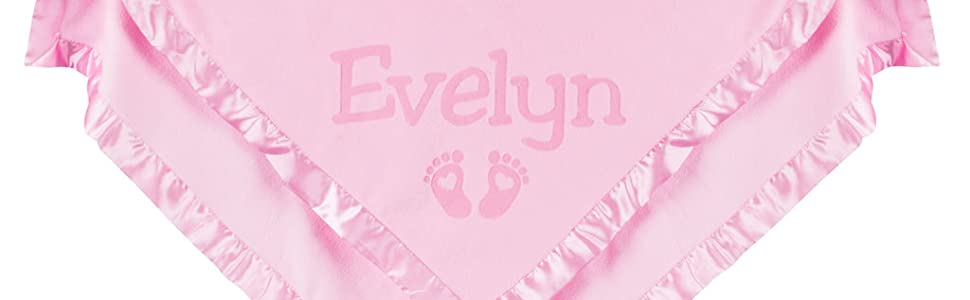 Personalized baby blanket with baby feet
