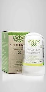 Desodorante Vitalgreen cristal alumbre potasio ecológico belleza cuidado personal familiar