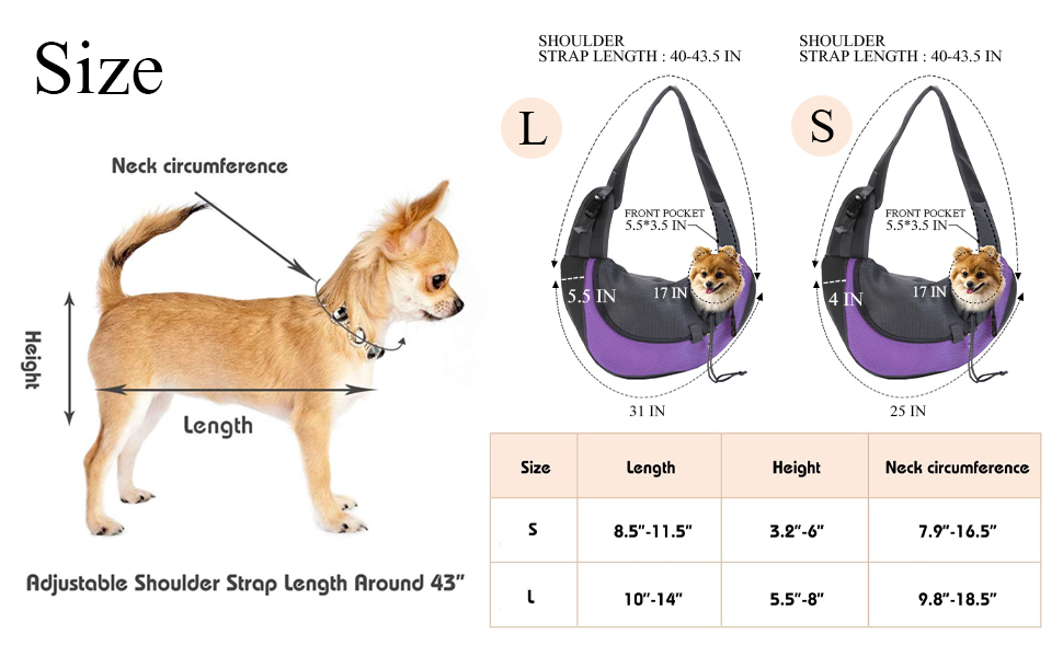 Dog Carrier Sling Front Pack Cat Puppy Carrier Purse Breathable Mesh Travel