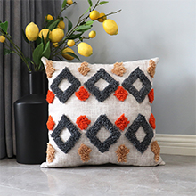 Boho throw pillow cover with textured patterns