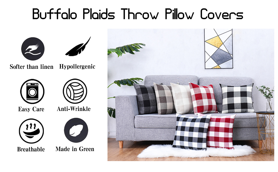 Buffalo Plaids Throw Pillow Covers