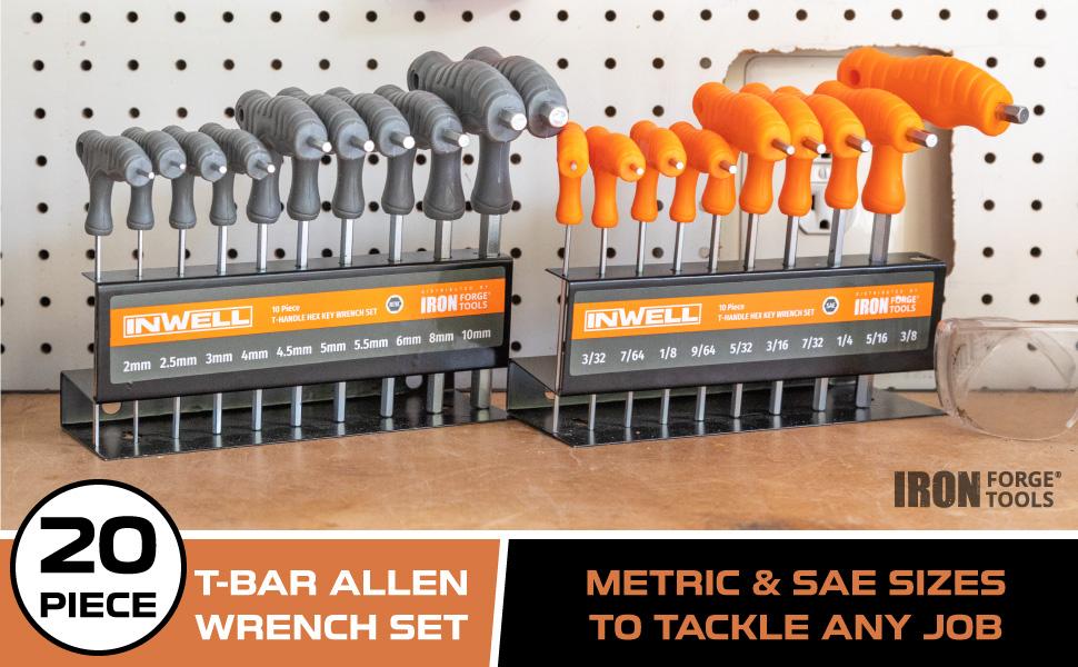 20 Piece T-Bar Allen Wrench Set