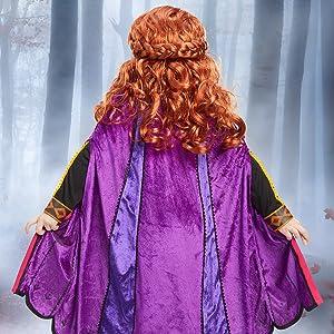 anna costume closeup, movie hero, colorful cape, costume details closeup, vibrant color