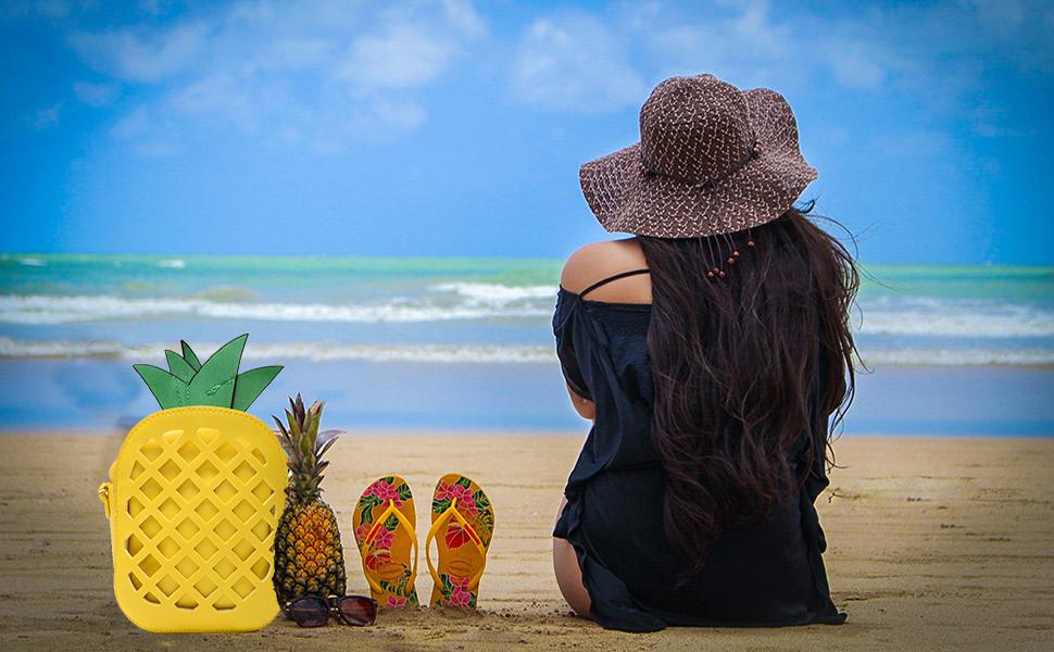 Girl Leather Cross Body Bag Pineapple Shaped Creative Single Shoulder Bag Fashion Bag