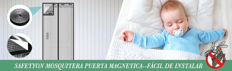 SAFETYON Mosquitera Puerta Magnetica, 100 x 220cm, Corredera ...