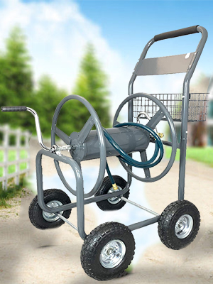 AshmanOnline Garden Hose Reel Cart - 4 Wheels Portable Garden Hose Reel Cart with Storage Basket