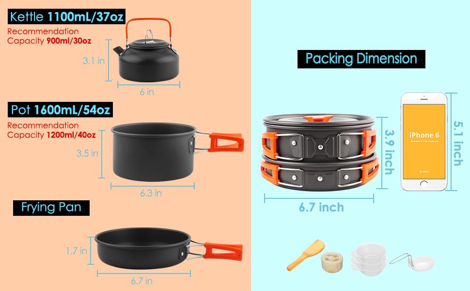 Pan Outdoor Camping Cookware Pot Set for Traveling Trekking DecentGadget Camping Stove