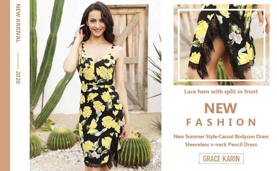 GRACE KARIN Women 50s Dress Summer V-Neck Spaghetti Straps Ruched Fancy Holiday Bodycon Dress
