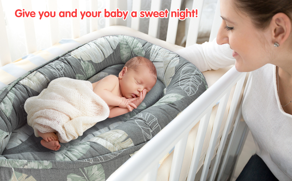 -Portable Infant Lounger Bassinet Perfect for Co-Sleeping -Super Soft /& Breathable and 100/% Cotton Newborn Crib-Suitable from 0-12 Months Leaves Adebo Baby Nest
