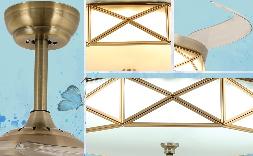 Retractable Invisible Ceiling Fan with Light