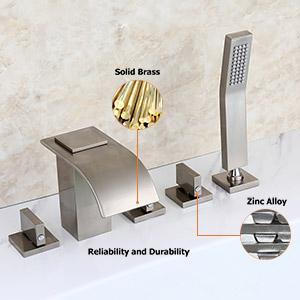 widespread bathroom waterfall faucet brushed nickel