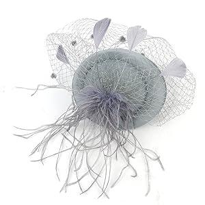 Women Pillbox Hat with Veil Headband