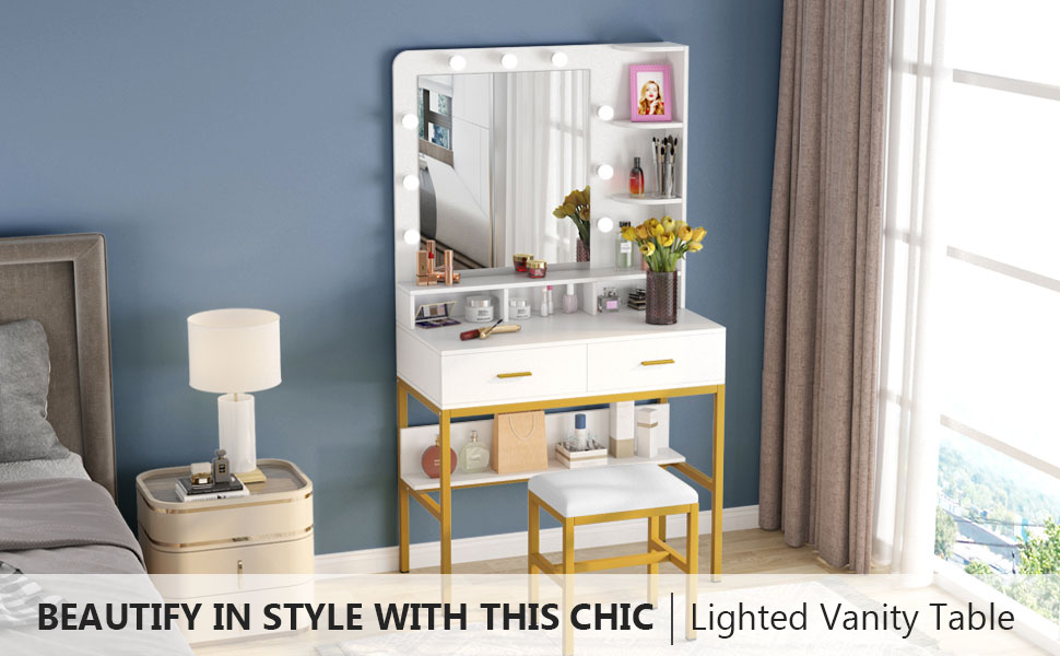 Tribesigns Lighted Vanity Table Set with Stool