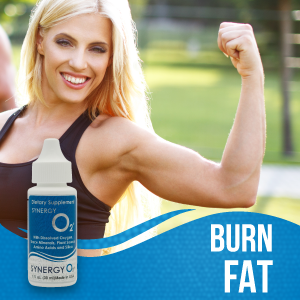 Woman flexing. Graphic of the SynergyO2 bottle in the bottom left corner. Text reads: Burn Fat.
