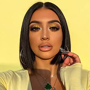 Deep Wave Short Bob Lace Front Wigs Human Hair for Black Women Pre Plucked