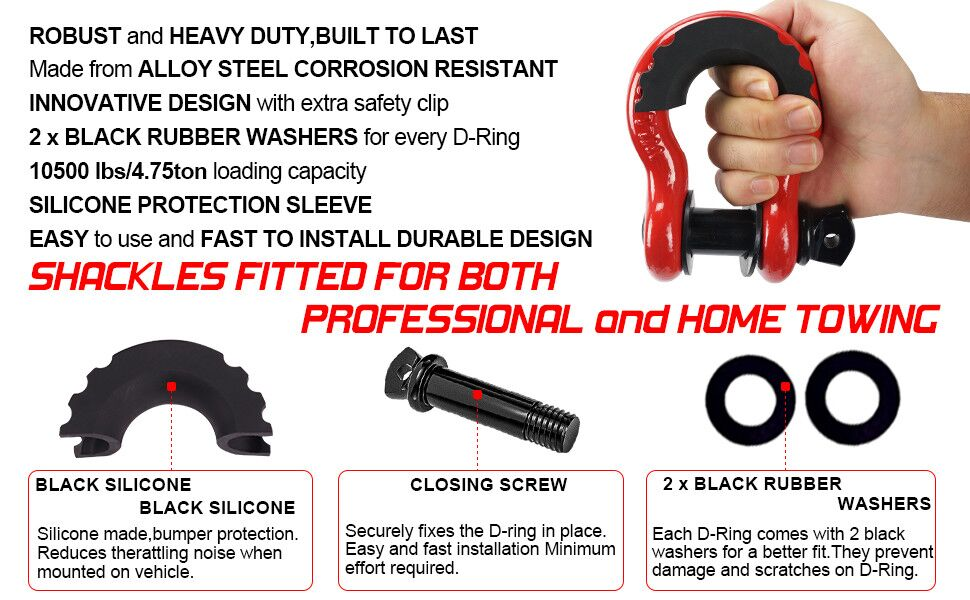 """3//4/"""" BLACK DRing Bow Shackle Pin 10500LB Red Isolator Washers Noise Reduction"""