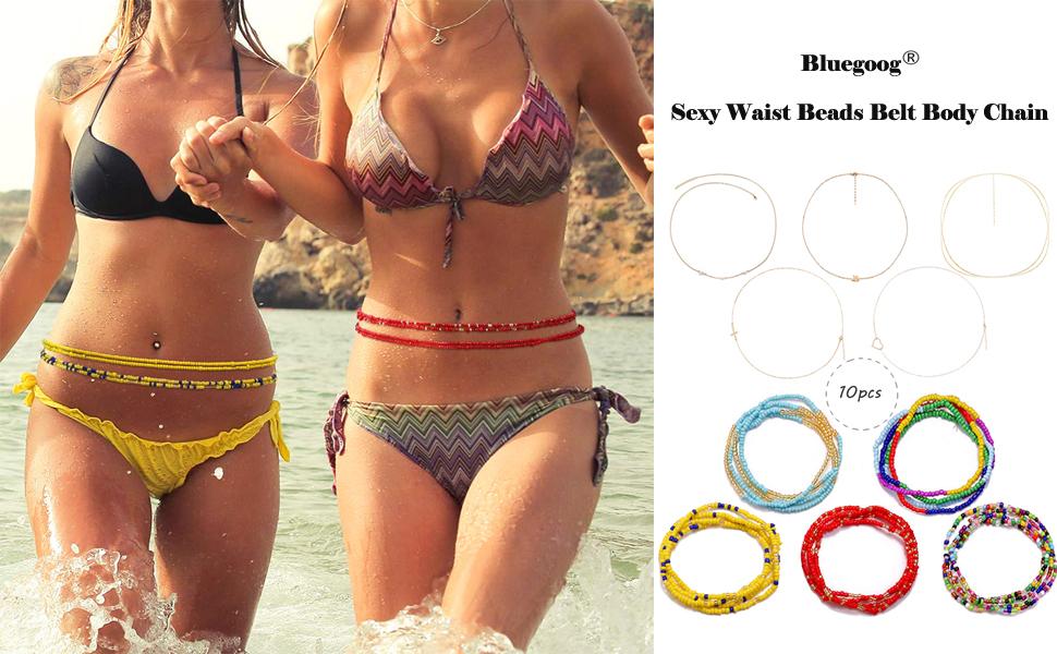 10 Pcs Sexy Waist Beads Belt Body Chain Set
