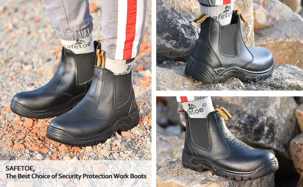 Safetoe Safety Work Boots Mens Steel Toe Black Leather Water Resistant Slip on