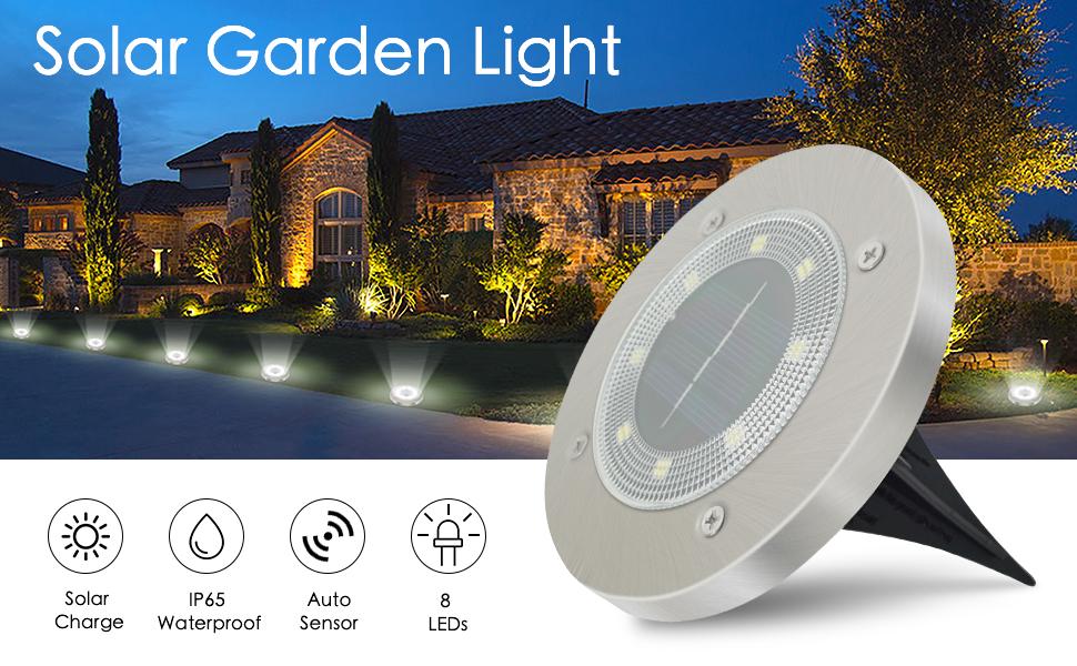 Luces Solares Exterior Jardin 8 Pack 8LEDs, IP65 Impermeable Focos Solares Suelo LED para Exterior, Jardín, Patio, Terraza, Césped, Camino, Pasarela (Blanco): Amazon.es: Ropa y accesorios