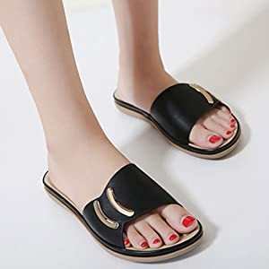 Harence Slide Sandals for Women Leather