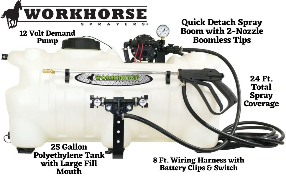 Amazon.com : Workhorse ATV25BL 25 Gallon Boomless Sprayer [White]  Adjustable Spray Nozzle - 24 ft. Coverage ATV Sprayer for Tree Lines,  Fenced Areas, Ditches : Garden & OutdoorAmazon.com