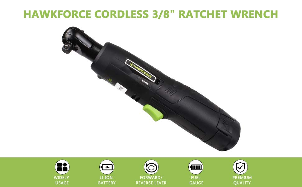 "Electric Ratchet Wrench, HAWKFORCE Cordless 3/8"" Air Ratchet Tool Set Variable Speed Trigger with 12V Lithium-Ion Battery, Charger Kit and 16 PCS Wrench Sockets(2 Batteries)"