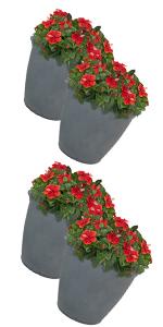 Outdoor traditional modern polyresin plastic lightweight flower pot planter set comparisons