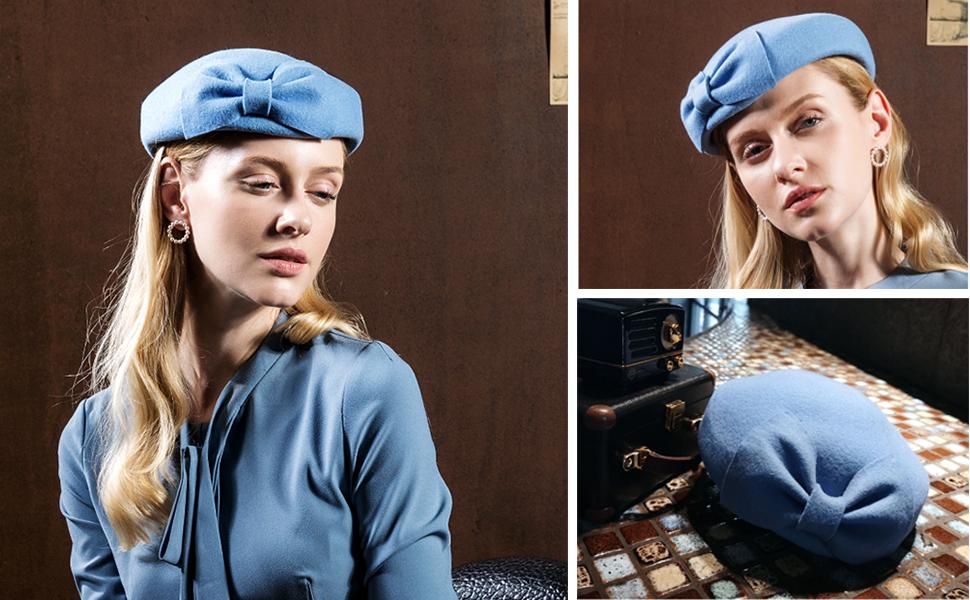 Vintage Womens Dress Fascinator Wool Pillbox Hat Formal Church Wedding Hat