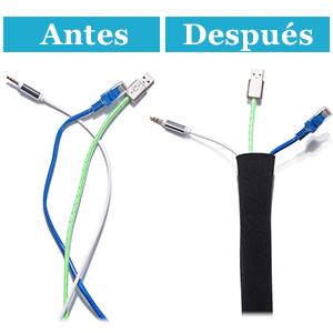 JOTO 6 uds. Manguito Cable Neopreno Reutilizable, Sujetacables Flexible para TV Ordenador Doméstico, Gestión de Cable con Cremallera, Longitud 48 ...