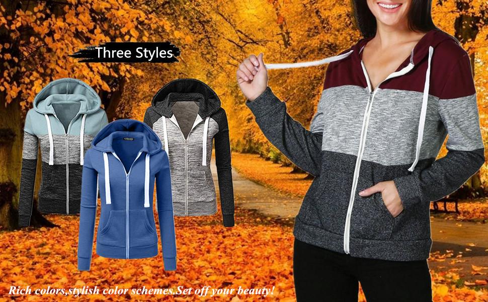 Newbestyle Women Spring Autumn Hoodies Casual Zipper Hooded Sweatshirt Jacket Coat