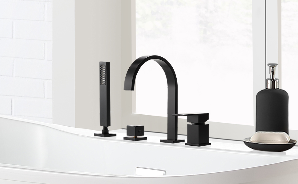 White 4-Hole Bath Rim Faucet Bath Faucet Water Crane Bathtub-Ferro Adore