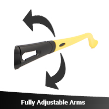 Adjustable arms on safety glasses
