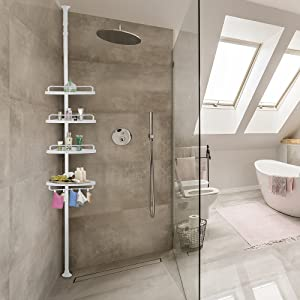 Deuba Estantería telescópica de baño ducha Blanca estantes de esquina ajustables 155 - 290 cm Organización toallas jabón: Amazon.es: Hogar